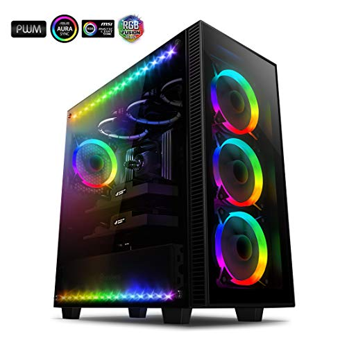 anidees AI-Crystal-Lite Mid Tower, Gaming ATX Case w/Tempered Glass Side Window and Front Panel,...