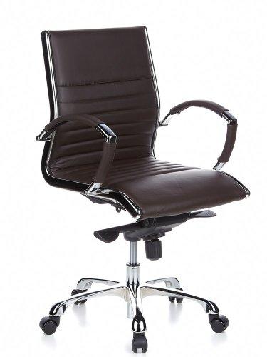 hjh OFFICE 660522 Profi Chefsessel Parma 10 Leder Braun/Chrom moderner Bürostuhl, mittelhohe Rückenlehne