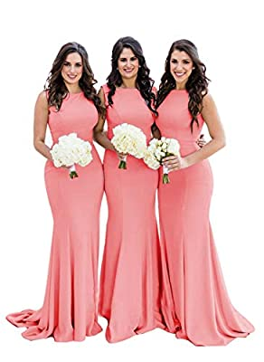 Coral Mermaid Bridesmaid Dresses,Long Formal Gowns Backless for Women Spandex US14