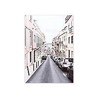 キャンバスプリントウォールアート写真旅行風景キャンバス絵画北欧シティストリートピンク建築装飾写真ウォールアートポスターとプリント家の装飾-A_30X42Cm_No_Frame