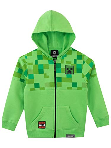 Minecraft Boys Creeper Hoodie Green Ages 7 to 8 Years