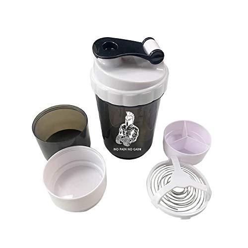 Shaker Italiano Per Proteine ideale per Bevande Sportive, Integratori in Polvere e Setaccio per Frullati Proteici Cremosi e Senza Grumi: Gratuato 100, 200, 300, 400, 500 ml per Palestra Fitness
