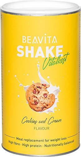 Diät Shake Cookies & Cream - 572g Dose - Mahlzeitersatz reicht für 10 Drinks - mit dem Abnhemshake unbeschwert Kalorien sparen & Gewicht reduzieren - vitaminreich inkl Diätplan Anleitung von BEAVITA