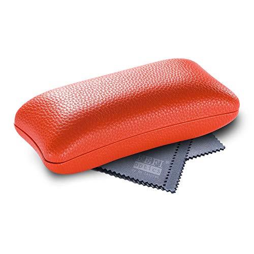 FEFI Hardcase Brillenetui in ausgefallener Form - für Sport- und Sonnenbrillen (GROSS - Orange)
