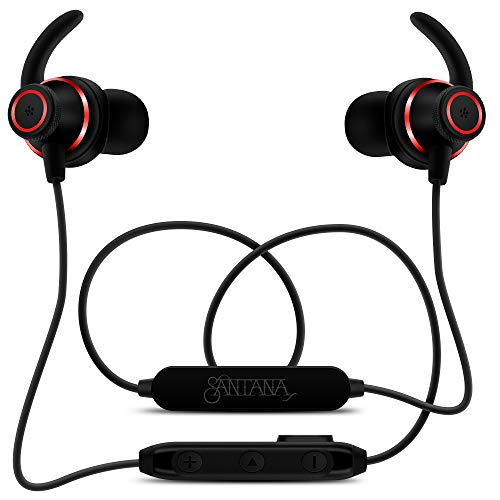 Fuego by Carlos Santana NC Black/Red Bluetooth Wireless Active Noise Cancelling Earbuds, Neckband Headphones with Remote and Built-in Mic, IP64 Certified Water Resistant, 6 HR Battery, BT Earphones