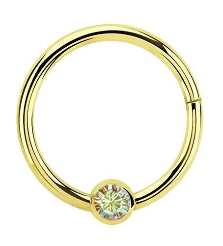 Modern Nature Piercing-Schmuck Lippenpiercing 316l Stahl Ring BCR Gold, Clicker 1,2 x 10 mm mit 3 mm Steinplatte in multiklar