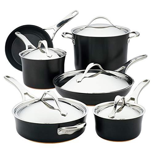 Anolon Nouvelle Copper Hard Anodized Nonstick Cookware Pots and Pans Set, 11 Piece, Onyx