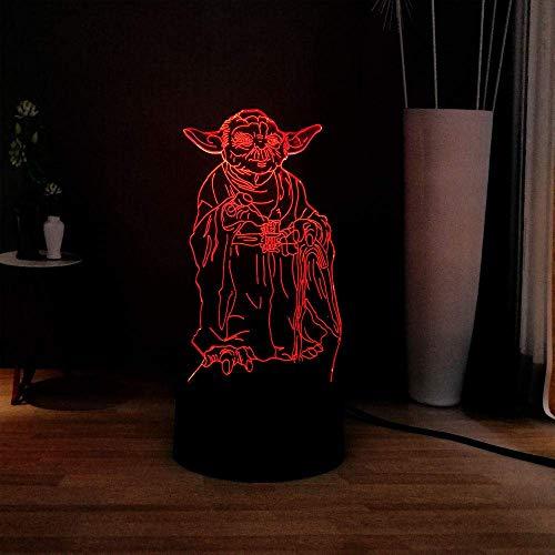 Lámpara De Ilusión 3D Luz De Noche Led Serie Star Wars Acrílico Maestro Yoda Novela Dec Stand 7 Cambio De Color Usb Niños Vacaciones Regalo De Cumpleaños