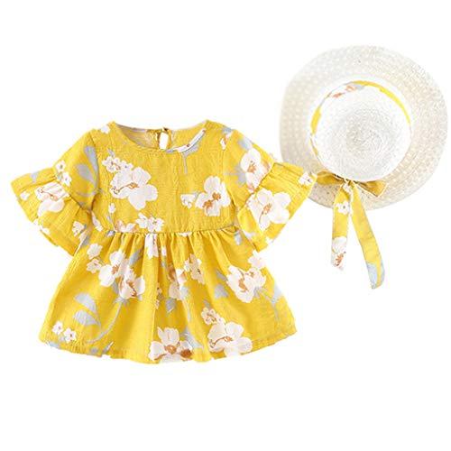 Julhold Infant Baby Girl Sommer Flare Sleeve Flower Blumendruck Prinzessin Baumwollkleid + Hut Cap Outfits 0-2 Jahre