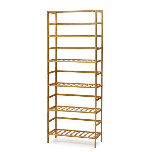 "TOOCA 6 Tier Bamboo Shelf Organizer Free Standing Natural Bookshelf Flower Plant Shelving Unit 63.4""Height Tall Shelves,Bathroom Living Room Kitchen Pantry Storage Rack Tower,Adjustable Rack Height"