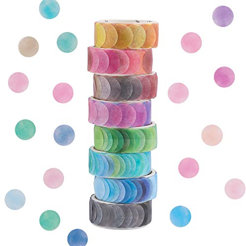 GLAITC Washi Tape Set,8 Rollen Dot Washi Tape Aufkleber 800 Stück Punkte Aufkleber 14mm Breite Dekorative Bänder Masking Tape für DIY Scrapbooking Aufkleber Geschenkdekoration Verpackung (8 Rolls)