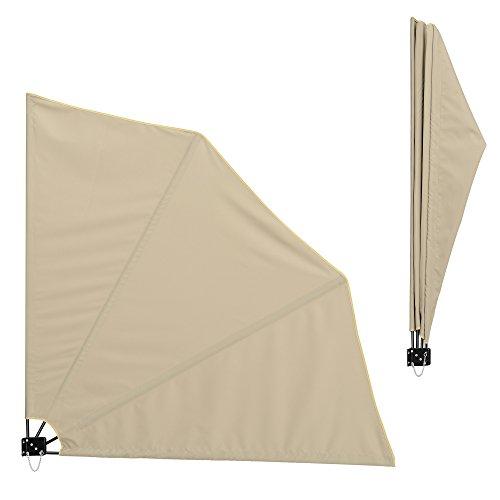 [casa.pro] Toldo lateral para balcón (beige)(160 x 160 cm) plegable - pantalla protectora - protección contra viento privacidad
