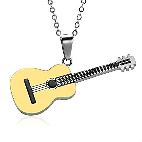 PPQKKYD Collar Collar Collar de Rock de Acero Inoxidable Titanio de Dos Tonos Acero Inoxidable Música Guitarra Colgante Collar Joyería para Hombre Regalos Regalos para Mujer para Hombre