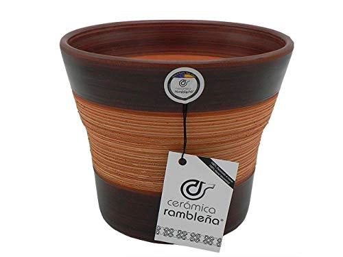 Jardinière en céramique pour plantes grimpantes - Rouge - Jardinières décoratives - Pots en céramique - Pots extérieurs - Araignée - Noyer - Décoration 100 % faite à la main - 20 x 20 x 17 cm