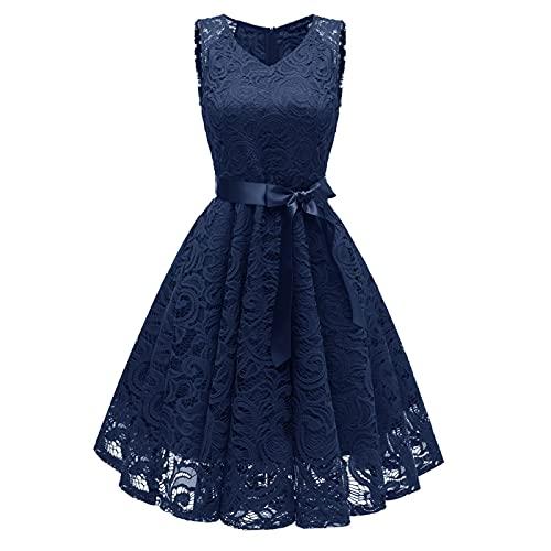 EMPERSTAR Partykleider Für Frauen Bow Belt Lace Flower Girl Brautjungfer Brautparty Kleider Navy Blau L