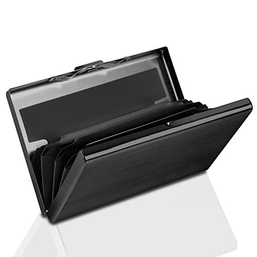 Yosemy Tarjetero para Tarjetas de Crédito, Delgado Billetera de Aluminio con RFID Bloqueo para Tarjetas de Visita, 1 Piezas Negro