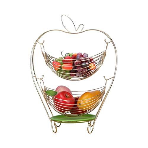WYJBD Kreative Swing-Speicher-Korb, Obstteller Doppel Wohnzimmer-Dekoration Süßigkeit Platte Edelstahl Abflusskorb