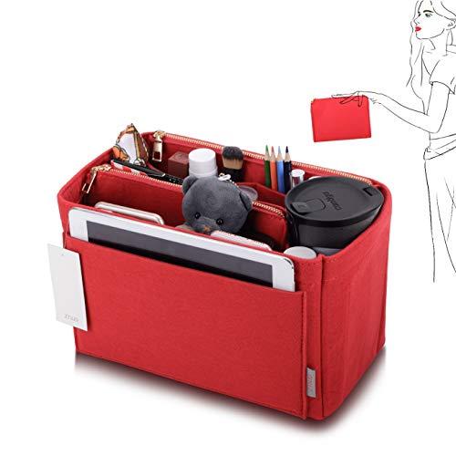 Purse Organizer, Felt Bag Organizer Purse Organizer Insert For Speedy, Neverfull, Graceful, Neverfull,Tote, Handbag,Shaper (Large, Red)