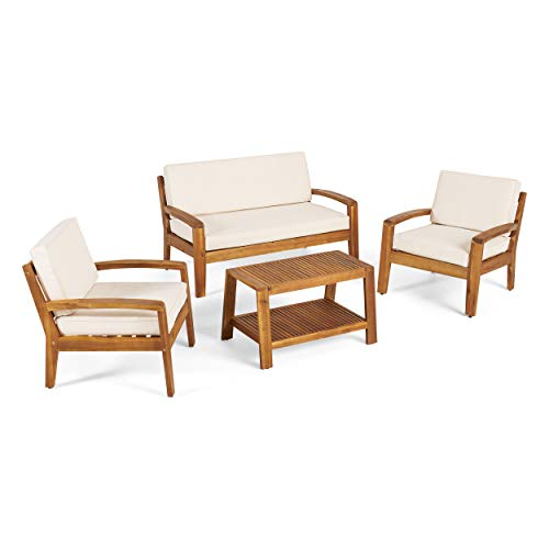 GDF Studio Parma 4 Piece Outdoor Wood Patio Furniture Chat Set w/Water Resistant Cushions (Four Piece Chat Set, Beige)