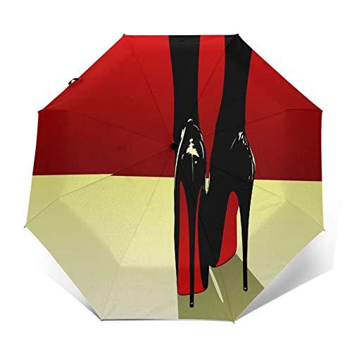 TISAGUER Paraguas automático de Apertura/Cierre,Sexy,Mujer,Negro,Tacones Altos,en,Fondo Rojo,Paraguas pequeño Plegable a Prueba de Viento