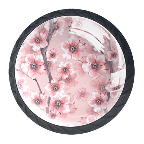 OLEEKA Tirador de manijas de cajón Perillas Decorativas del gabinete del cajón Manija del cajón del tocador 4 Piezas,Flor de Cerezo Rosa Flor de Primavera Floral
