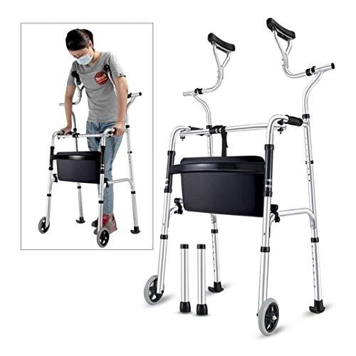 LRX Andador Rollator con Las Personas Mayores Walker axilar de Apoyo, Plegable de Aluminio Resistente muleta con Ruedas, Gente Alta Mantenerse en pie Walker