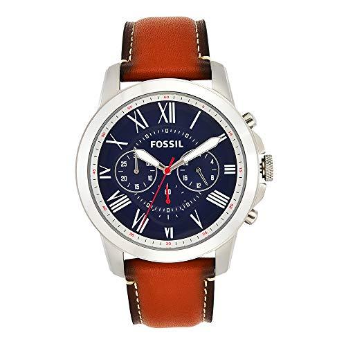 Fossil Men's Grant Quartz Leather Chronograph Watch, Color: Silver, Brown (Model: FS5210IE)