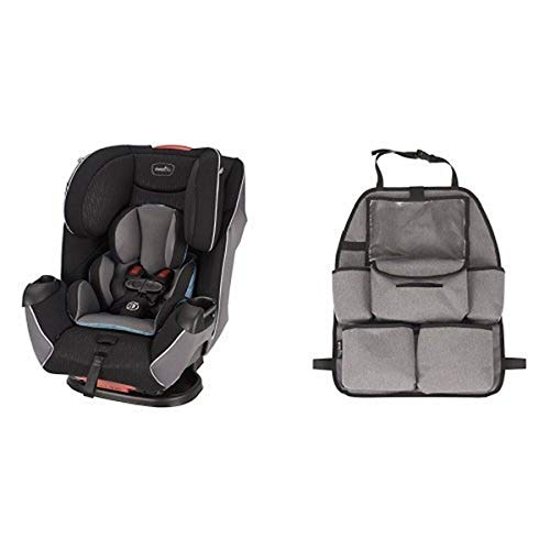 Evenflo Platinum Symphony LX All-In-One Car Seat, Montgomery with Deluxe Car Backseat Organizer, Grey Melange
