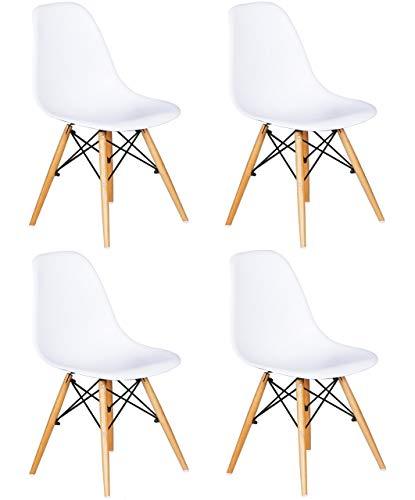 SuperStudio Wooden- Juego de 4 sillas con respaldo de polipropileno y patas de madera de haya, 80 cm x 46 cm x 53.5 cm y altura 44 cm, Blanco