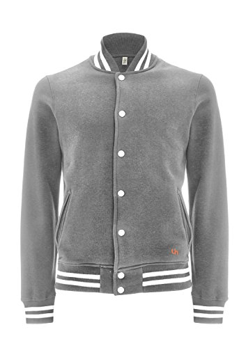 Underhood of London Veste Teddy Homme - 100% Coton Bio Small-Gris - Rayures Blanches
