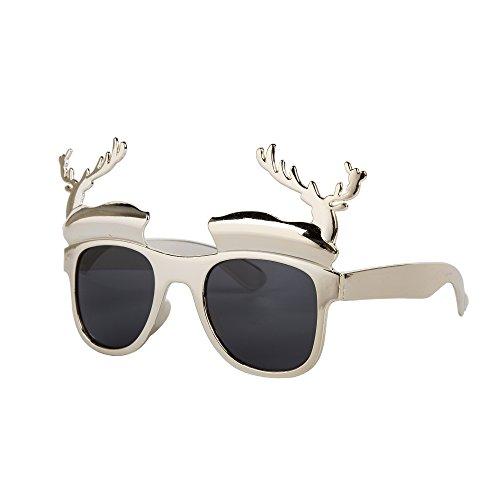 Novelty Christmas Theme Glasses (Christmas Tree, Santa, Reindeer, Snowflake etc) (Silver Reindeer)