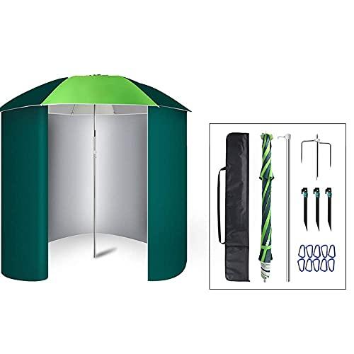 FHKBB Paraguas de Pesca Ajustable en Altura con Cubierta de Lluvia en el Lateral, sombrilla de jardín Inclinada Redonda, 1.8M / 2M, para jardín al Aire Libre, balcón y terraza