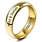 MeMeDIY 6mm Oro Dorado Tono Acero Inoxidable Anillo Ring Banda Venda Alianzas Boda Amor Love Talla Tamaño 20 - Grabado Personalizado