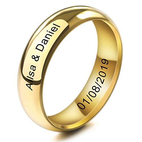 MeMeDIY 6mm Oro Dorado Tono Acero Inoxidable Anillo Ring Banda Venda Alianzas Boda Amor Love Talla Tamaño 12 - Grabado Personalizado
