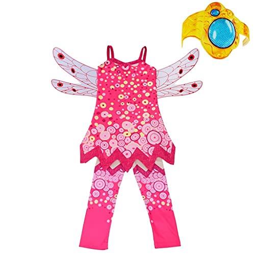 Lito Angels Mia and Me Kostüm Kleid Kinder Mädchen mit Flügel, Hose und Armreif Verkleidung Halloween Party Karneval Cosplay Pink Größe Gr. 7-8 Jahre 122 128