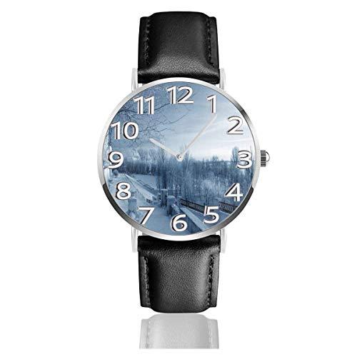 Watches Reloj de Pulsera Analógico Monoaguja de Cuarzo para Hombre Reloj para Hombre de Cuarzo Naturaleza de Invierno en Rusia Kostroma City con Correa en Cuero