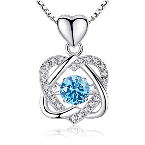 Corazón collar de plata femenina melocotón estrella de seis puntas, smart-corona-remolques, el aniversario del juego All-Valentine, joyas,(Blue Diamond) (remolque solamente),925