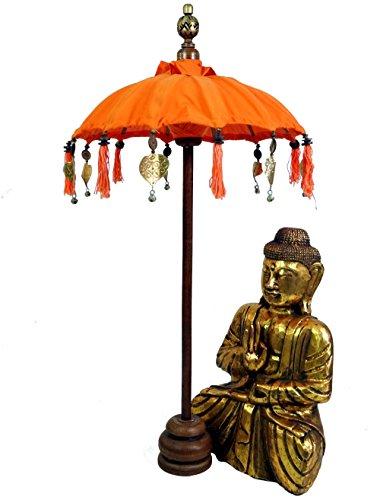 Guru-Shop Ceremoniële Paraplu, Aziatische Decoratieve Paraplu Medium - Oranje, 92x50 cm, Paraplu`s