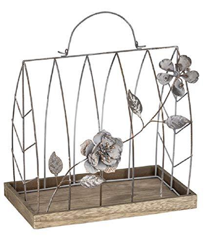 ETC dekoratives Metallhaus Dekohaus mit Blumenranke auf Holzteller Vintage Landhausoptik Verschiedene Größen (klein)