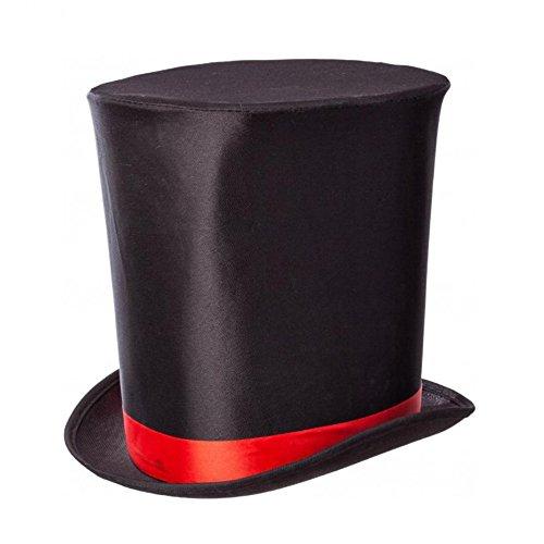 Zylinder hoch mit Band, Hut schwarz Gothic, Zauberer Kostüme Fasching Zubehör