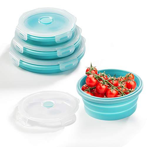 Diealles Shine 3 Stück Runden Silikon zusammenklappbaren Container, Faltbare Frischhalteboxen Brotdosen aus Silikon für Mikrowellen, Kühlschränke, Blau