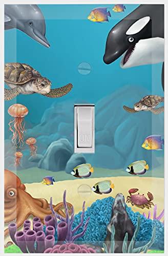 해양 수중 돌고래 고래 바다 거북이 키즈 라이트 스위치 커버 플레이트 장식 보육원 10대 토들러 룸 장식 화장실 놀이방(오션 1)
