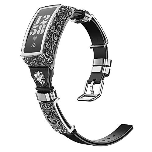 MoKo Correa Compatible con Inspire/Inspire HR/Ace 2, Banda de Reloj de Repuesto de Cuero Vintage, Pulsera de Aleación Tallada con Accesorios de Moda para Mujeres y Hombres, Negro