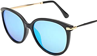 Fashion Vintage Retro Round Thin Style Sunglasses Polarized UV400 Retro (Color : Blue)