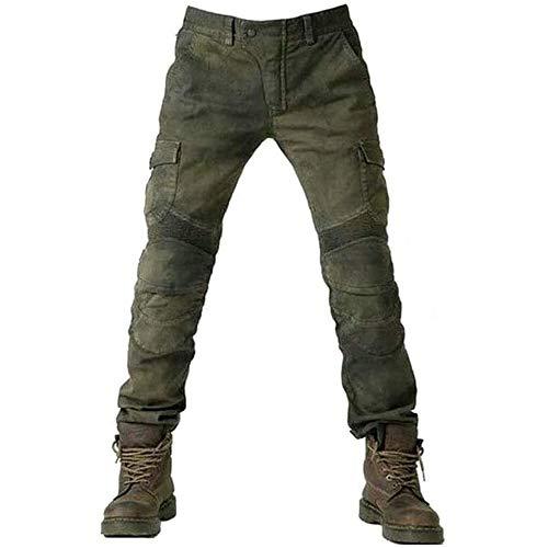 Alpha Rider Motorradhose Herren Jeans Textil Motorrad Hose mit Protektoren, Sportliche Motorrad Hose mit Oberschenkeltaschen Armee Grün S