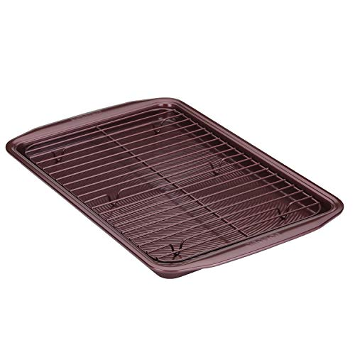 Circulon Nonstick Bakeware Set, Nonstick Cookie Sheet / Baking Sheet with Cooling Rack - 2 Piece, Merlot Red
