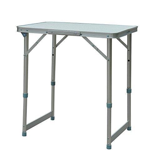 Outsunny Mesa Plegable como una Maleta para Playa Camping 60x45x65cm Aluminio Altura Ajustable
