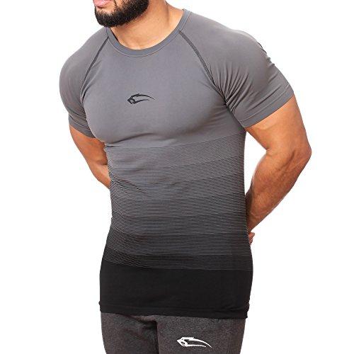 SMILODOX Herren Seamless T-Shirt Process Seamless - Kurzarm Funktionsshirt für Sport Fitness Gym & Training   Trainingsshirt - Laufshirt - Sportshirt mit Aufdruck, Farbe:Anthrazit, Größe:M