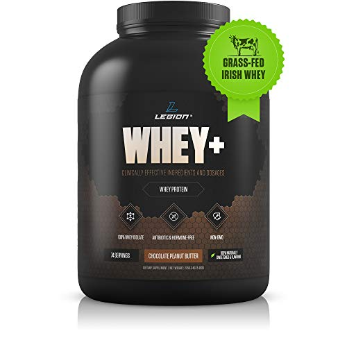 Legion Whey+ Whey Isolate Protein Powder from Grass Fed Cows - Low Carb, Low Calorie, Non-GMO, Lactose Free, Gluten Free, Sugar Free. Great for Weight Loss (Chocolate Peanut Butter, 30 Servings)