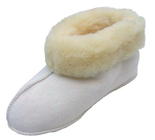 warme Damen Lammfell Bettschuhe naturweiß mit Fellkragen, extra weich und leicht, Gr. 38